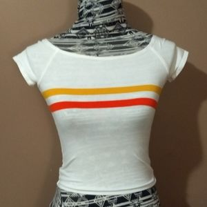 Retro 70s vibe white striped fitted crop top